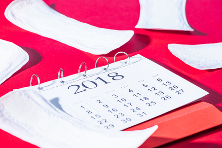 scattered daily liners and calendar on red