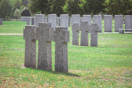 Rows of identical old gravestones on grass at graveyard Stockfoto
