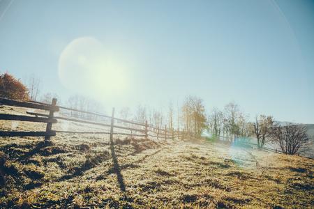 Wooden pasture fence in Vorokhta, Carpathians, Ukraine Фото со стока - 112272966