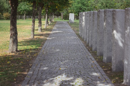Path from paving stone and memorial headstones placed in row at cemetery