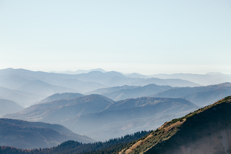 aerial view of beautiful hazy mountains landscape, Carpathians, Ukraine 版權商用圖片