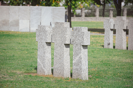 stone memorial monuments placed in row on grass at cemetery