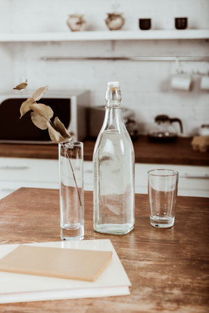 Selective focus of branch with leaves in vase and bottle of water at wooden table in kitchen Banco de Imagens