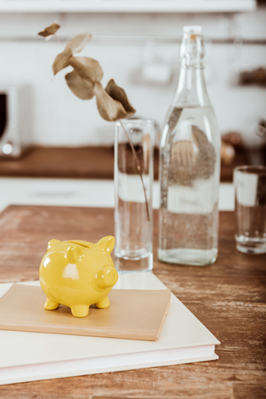 Close up view of yellow piggy bank on textbook at wooden table with bottle of water and vase with branch