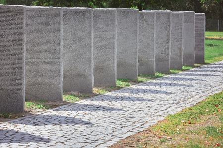 Memorial gravestones with lettering placed in row at cemetery Stok Fotoğraf