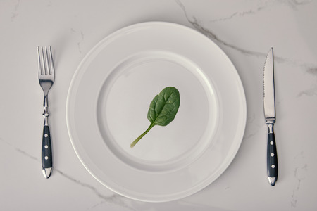empty plate with fork and knife with spinach leaf on white marble background, health and dieting concept Zdjęcie Seryjne