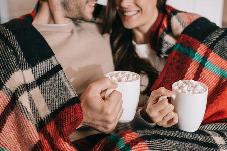 Cropped shot of smiling young couple with cups of cocoa with marshmallow relaxing on couch under plaid at home
