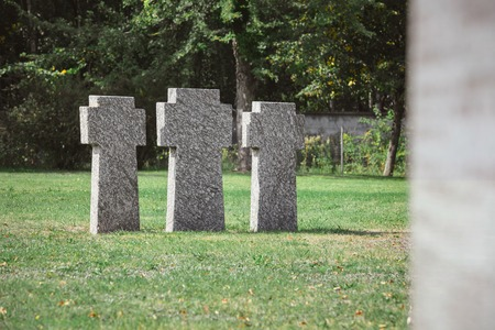 Old identical tombstones placed in row on grass at cemetery Фото со стока