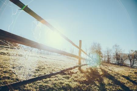 Close-up shot of wooden pasture fence with spider web in Vorokhta, Carpathians, Ukraine Фото со стока