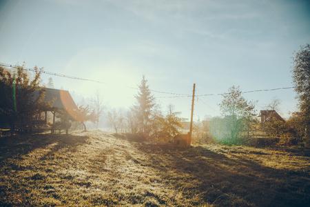 house garden in Vorokhta town in sunny morning, Carpathians, Ukraine Imagens