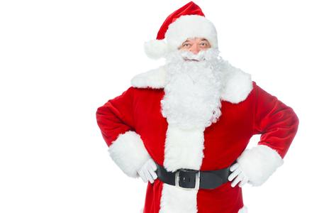 smiling santa claus posing isolated on white