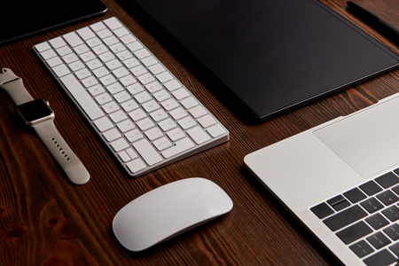 Close-up shot of different gadgets on graphics designer workplace Stock Photo