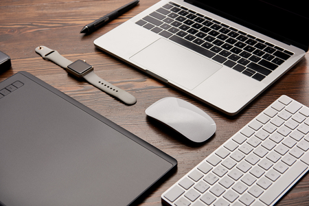 composed different gadgets on graphics designer workplace