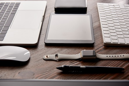 close-up shot of different modern gadgets on graphics designer workplace