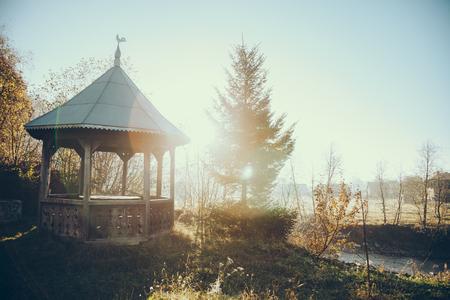 beautiful alcove in garden on sunny morning in Vorokhta, Carpathians, Ukraine