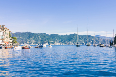 boats in beautiful sea bay and picturesque seascape in Portovenere, Italy 免版税图像