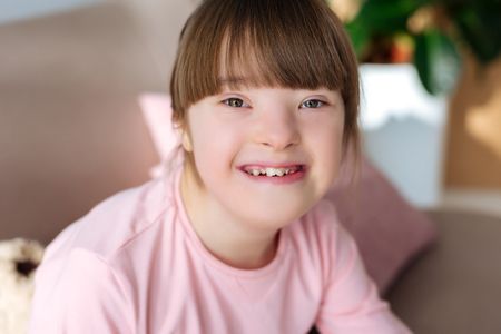 Portrait of happy child with down syndrome Banco de Imagens