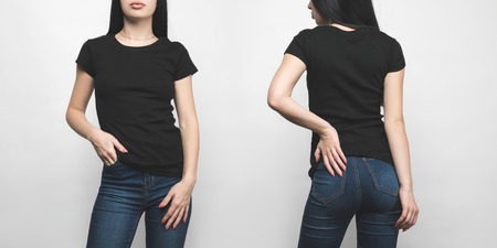 front and back view of young woman in blank black t-shirt isolated on white Stockfoto