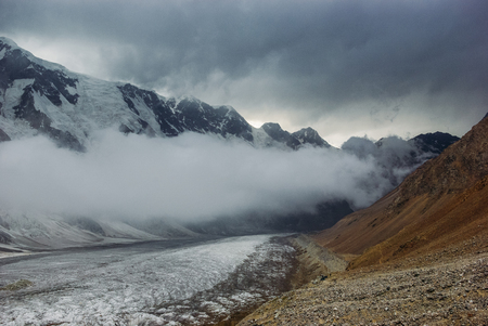 beautiful snowy mountains, Russian Federation, Caucasus, July 2012