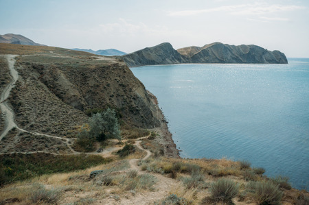 Beautiful landscape with Crimean mountains and Black sea, Ukraine, May 2013 스톡 콘텐츠