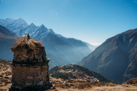 Breathtaking view of Nepal mountains peaks, Sagarmatha, 2014 Imagens