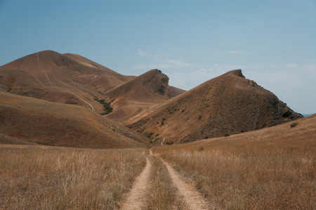 Road in beautiful summer landscape in Crimean mountains, Ukraine, May 2013