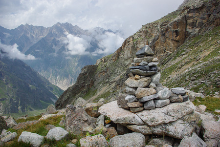 stones architecture in mountains Russian Federation, Caucasus, July 2012 版權商用圖片