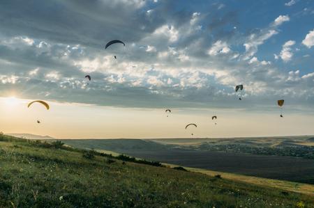 people flying on paraplanes, Ukraine, Crimea, may 2013