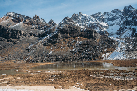beautiful scenic landscape with snowy mountains and lake, Nepal, Sagarmatha, November 2014 Stock Photo