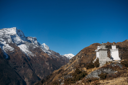 view on constructions in Lower Pangboche village, Nepal, Khumbu, November 2014 Stock Photo
