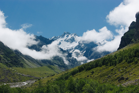 amazing view of mountains landscape with snow, Russian Federation, Caucasus, July 2012 스톡 콘텐츠