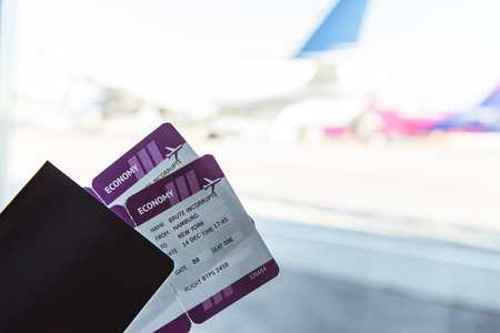 Close up of air tickets and travel bag in airport Zdjęcie Seryjne