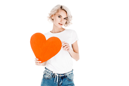 Wonderful young adult woman holding red heart isolated on white Banque d'images - 112156429