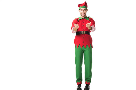 smiling man in christmas elf costume with outstretched hands gesture isolated on white