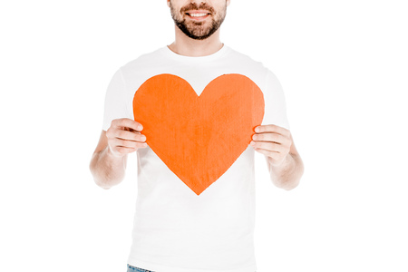 Partial view of man holding love sign isolated on white Standard-Bild - 112162318