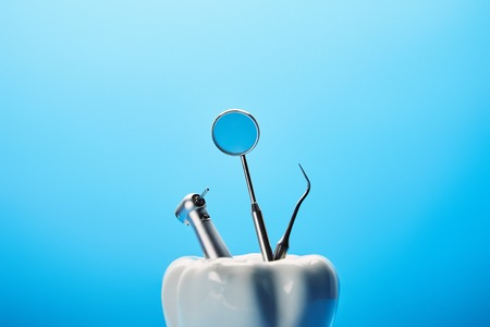 close up view of white tooth model and stainless dental instruments on blue backdrop
