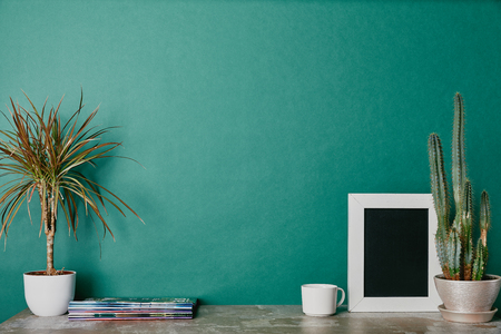 Plants, photo frame, journals and cup of beverage on green background Stock Photo
