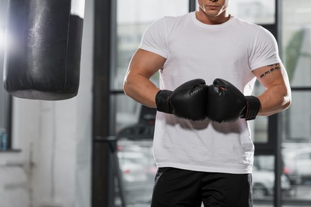 cropped image of muscular boxer standing with boxing gloves near punching bag in gym