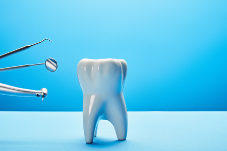 close up view of white tooth model and stainless dental instruments on blue backdrop Archivio Fotografico - 112355470