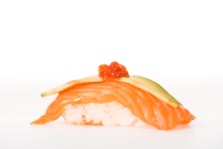 Nigiri sushi with salmon, caviar and avocado isolated on white Фото со стока