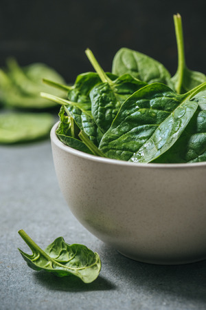 Fresh and wet spinach leaves in white bowl 스톡 콘텐츠