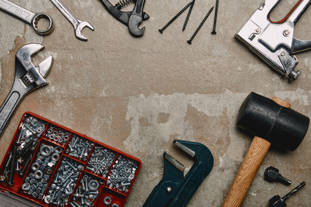 Top view of various carpentry tools on old  surface background Stock Photo - 112355619