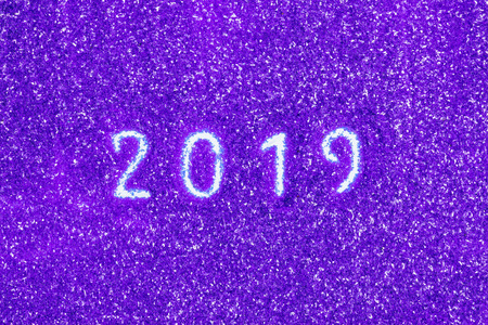 2019 new year sing on shiny purple background