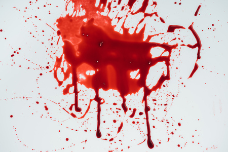 top view of blood blot on white surface Stock Photo