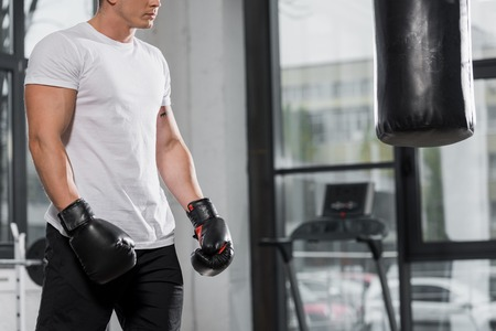 cropped image of muscular boxer standing near punching bag in gym