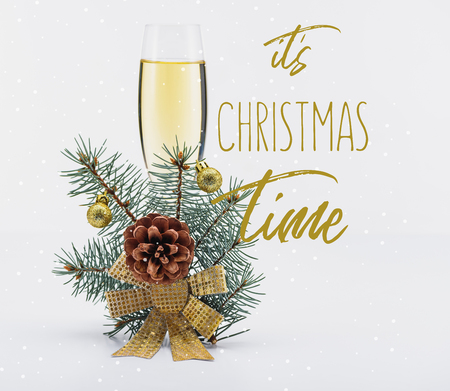 glass of champagne with christmas decoration on white background with its christmas time inspiration Banco de Imagens
