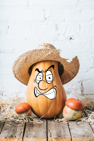 close up view of ripe pumpkins with drawn angry facial expression and straw hat on wooden surface and white brick wall backdrop Stockfoto