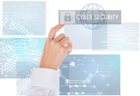 cropped shot of businesswoman pointing at cyber security sign isolated on white Banco de Imagens