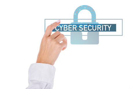 cropped shot of businesswoman pointing at cyber security sign isolated on white Imagens