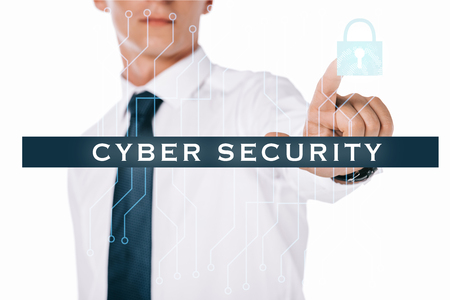 partial view of businessman pointing at cyber security sign isolated on white